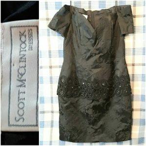 Scott McClintock Beaded Waist Off Shoulder Dress